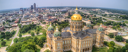Iowa state house with cityscape