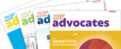 fan of four Social Work Advocates magazine covers